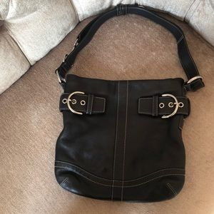 Coach Black Leather Adjustable Bag